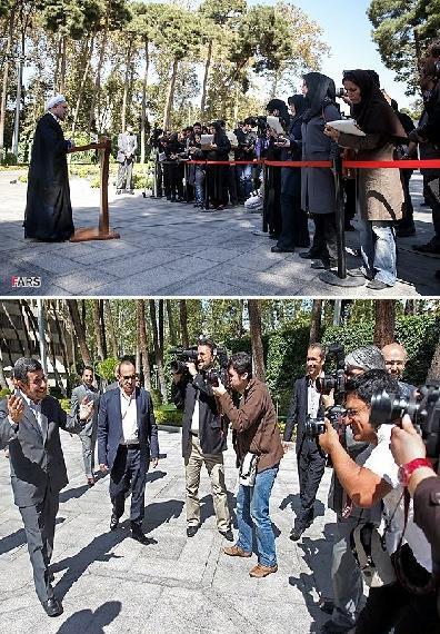 146061 572 عکس/ برخورد احمدینژاد و روحانی با خبرنگاران