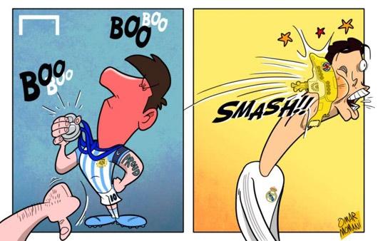 کاریکاتور رونالدو و مسی برخورد زیردریایی با رونالدو و واکنش تند مسی